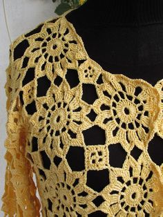 Crochet cardigan for summer Handmade by AlicjaCollection Crochet Cardigan, Crochet Shawl, Crochet Top, Knitting Stitches, Crochet Designs, Summer Tops, Crochet Clothes, Vest Jacket, Crochet Projects