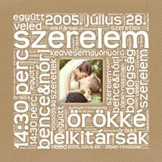 Betűkép ajándék házassági- és kapcsolat évfordulóra, valentin napi ajándék