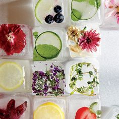 Looking for a pretty cool way to dress up summertimedrinks? Try our technique for taking plain ice cubes from everyday to extraordinary simply by studding them with fresh fruits, vegetables, herbs...