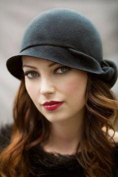 The Twist Cloche Hat Slate Blue Wool Felt [Choose any color felt] by MaggieMowbrayHats, £125.00