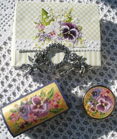 {Violets from our Garden and on French Country Style Wooden Tableau}