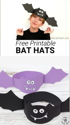 How fun is this Free Printable Bat Hat Craft? These bat crafts are so easy to make and great for Halloween. Dont be batty pick up your free printable template today! A Halloween craft for kids to sink their fangs into! Halloween Arts And Crafts, Theme Halloween, Halloween Tags, Halloween Activities, Halloween Puzzles, Halloween Coloring, Bat Activities For Kids, Preschool Halloween, Halloween 2019