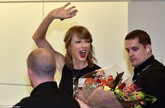 Sharing her love: The performer turned to exchange one more goodbye with her fans before finally heading out so she could prepare to begin her hotly anticipated 1989 tour - which kicks off on Tuesday