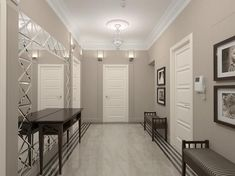 Grey and white entryway design ideas and beautiful modern interiors Entry Way Design, Entrance Design, Corridor Design, Entryway Decor, Bedroom Decor, Ikea Small Spaces, Tiled Hallway, Small Hallways, Grey Walls