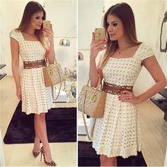 11.11 estilo verão 2015 moda uma linha vestido das mulheres Casual branco Vestidos elegante De manga curta em torno do pescoço Vestidos De Festa vestido