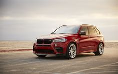 Download wallpapers BMW X5M, F85, tuning x5, red X5, low profile tires, German SUV, BMW