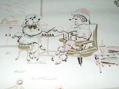 Vintage 50's Pink Poodle Wallpaper  THIS WAS IN MY GRANDMOTHER'S QUEENS NY HOME!!! :) i need to find this