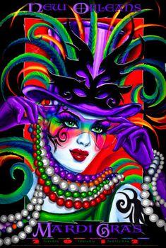 From Barb's Color Me Crazy ~ Andrea Mistretta Mardi Gras Mardi Gras Carnival, Mardi Gras Party, Carnival Masks, Rainbow Colors, Vibrant Colors, New Orleans Mardi Gras, Mardi Gras Decorations, Drawings, Artwork