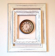 Shabby Chic Frame Wall art with repurposed clock face