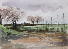 """Hop Gardens near Goudhurst"" by Robert Tavener, (watercolour) Pen And Wash, Gouache, Printmaking, Fields, Watercolour, British, Gardens, England, Paintings"