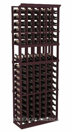 """Five Star Series: 6 Column 102 Bottle Display Wine Cellar Rack in Redwood with Burgundy Stain by Wine Racks America®. $485.23. 11/16"""" wood thickness. Designed for 750ml wine bottles. Some assembly required .. Choose From either Pine, Redwood, or Mahogany along with optional Industry Leading Quality Eco-Friendly Stains Paired with an Immaculate Satin Finish. Each have custom finishes and are professionally stained to order, so please allow a few additional days aft..."""