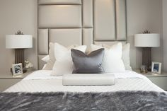 Master bedroom bespoke feature headboard -Designed by JHR Interiors