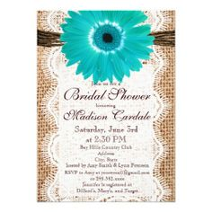 Rustic Country Burlap Look Teal Turquoise Blue Gerber Daisy Bridal Shower Invitations