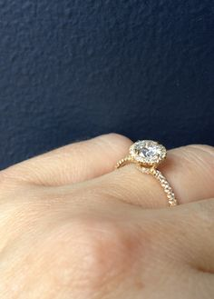 Piper ring in 18k yellow gold with .61 ct HVVS1 Diamond. Covered in Pave