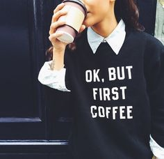 coffee, fashion, and outfit afbeelding