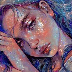 Digital Art Girl, Digital Portrait, Portrait Art, Glitter Kunst, Glitter Art, Pretty Art, Cute Art, Dibujos Tumblr A Color, Portraits From Photos
