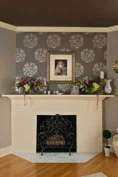 Love the differentiated color and stenciling over the corner fireplace.