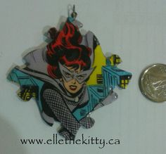 Vintage Black widow pendant, necklace, recycled comic art jewelry, one of a kind by ellethekitty on Etsy