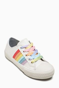 d1db1e95b2cf68 Buy White Rainbow Lace-Up Trainers (Older Girls) from the Next UK online