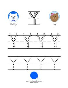 How to write the letter Y, with large images to trace for practice, in free printable PDF format. Free Printable Alphabet Worksheets, Free Printables, Colorful Pictures, Cool Pictures, The Letter Y, To Trace, Letter Formation, Preschool Activities, Coloring Pages