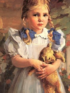 Girl with Teddy Bear, detail, 1950, oil on masonite, Wessel Estate