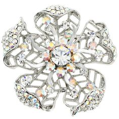 Silver Crystal Flower Wedding Brooch/Pendant (Chain Not Included)