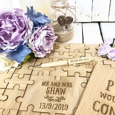 Jigsaw Puzzle Guestbook Set - Jigsaw Puzzle, Pen and Sign Wooden Wedding Guest Book, Personalized Wedding Guest Book, Wedding Book, Rustic Wedding, Wedding Things, Diy Wedding Favors, Wedding Decoration, Wedding Ideas, Puzzles
