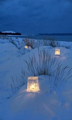 Ice lanterns.. (by Ken Scott on Flickr)