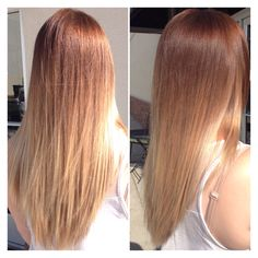 Light brown to blonde ombré. Balayage technique.
