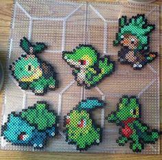 Grass Starter Pokemon Perler beads! by Khoriana on DeviantArt