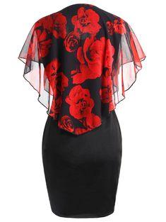 Plus Size Valentine Rose Capelet Dress - BLACK/RED XL
