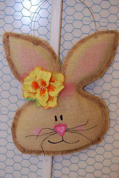 Girl Burlap Easter Spring Bunny Door Hanger/Greeter Wall Decor