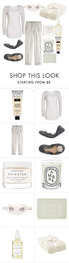 """""""Sleeping beauty"""" by petra0710 ❤ liked on Polyvore featuring Victoria's Secret, Closed, J.Crew, UGG, Herbivore, Diptyque, Morgan Lane, AERIN and Barefoot Dreams"""
