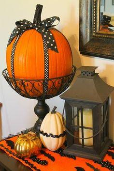 Ribbon wrapped pumpkin