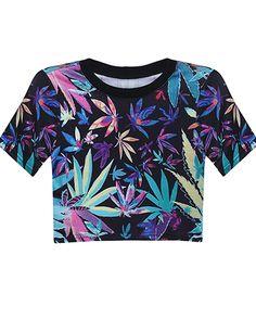 Black Maple Leaf Midriff T-shirt - Sheinside.com