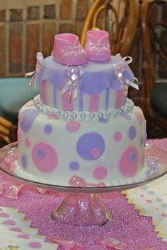 Baby Shower Cake - White Cake, light purple & light pink, dots & stripes