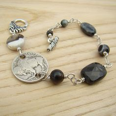 Buffalo nickel bracelet coin black grey beads by laurelmoonjewelry