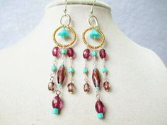 Long Teal Flowers & Purple Dangly Gypsy by ViperCoraraDesigns, $12.00