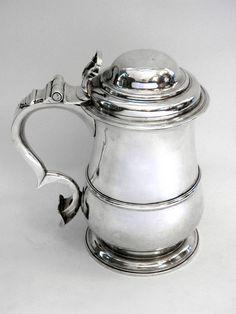 GEORGIAN GEO. II ANTIQUE SILVER LIDDED TANKARD / BEER MUG LONDON 1749 John Bull Antiques London, UK www.antique-silver.co.uk Antique Silver Dealer