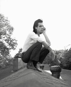 """"""" """"Nick Cave on my roof, portrait for Rolling Stone Magazine by Geof Kern. OK, so now we know how he gets his inspiration and yes, it's even weirder than you would expect. Nick Cave, Masquerade Men, Music Express, Poster Boys, The Bad Seed, Annie Leibovitz, Record Collection, Fashion Images, Music Love"""