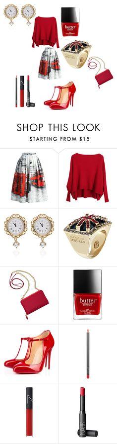 """London Bridge"" by alisafranklin on Polyvore featuring Chicwish, Chicnova Fashion, Dolce&Gabbana, Alexander McQueen, TravelSmith, Christian Louboutin, MAC Cosmetics and NARS Cosmetics"