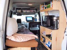 Many photos of converting a van to camper (some with a Ford Transit Connect).
