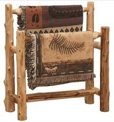 Cedar Log Double Quilt Rack #LogFurniture