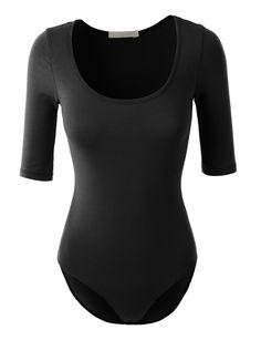 LE3NO Womens Basic Scoop Neck Short Sleeve Shapewear Bodysuit