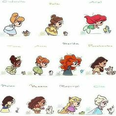 So cute ❤ comment what is your favorite princess 💞 (artist Cute Disney Drawings, Disney Princess Drawings, Cute Kawaii Drawings, Disney Princess Art, Anime Princess, Cute Princess, Disney Sketches, Disney Princesses, Chibi Disney