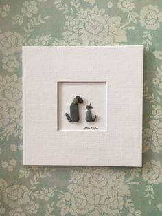 Mini unframed pebble art picture by sharon nowlan, matted to go in 5 by 5 frame