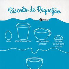 Infográfico receita de Biscoito de requeijão, feito com 4 ingredientes. É muito fácil e rápido de fazer. Ingredientes: Requeijão, farinha de trigo, ovo e queijo parmesão.
