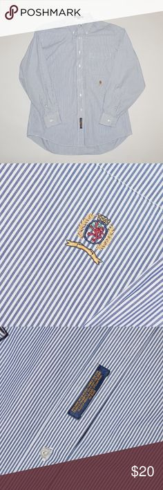 Vintage Tommy Hilfiger Blue Striped Dress Shirt Brand: Vintage Tommy Hilfiger Item name: Striped Button Up Dress Shirt   Color: Blue / White Condition: This is a pre-owned item. However, the item is in mint condition with no signs of wear, holes, stains, etc. Smoke free. Size: 15 1/2 33 Medium Measurements: Pit to Pit - 25 inches Shoulder to base - 31 inches Tommy Hilfiger Shirts Dress Shirts