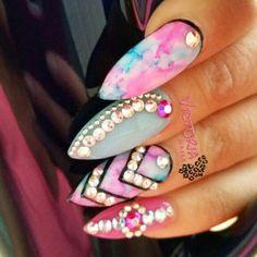 Marble stiletto nails with Swarovski crystals! Instagram @victorianailz