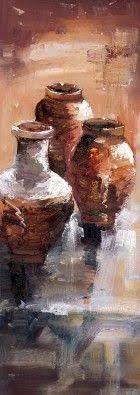 Resultado de imagen de textured canvas art/clay pots